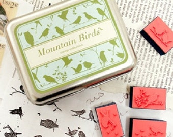Box of small birds in the mountains - nature stamp pads