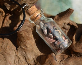 Leopard Skin Stones in a Vial Necklace