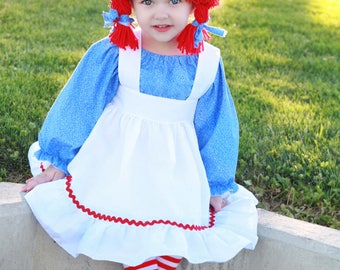 Raggedy Ann inspired yarn wig with attached bonnet Rag Doll Hat hair red pigtails
