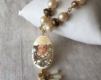 Russian Hand Painted Bead, Mother of Pearl, Mask Pendant, Sva Cviqve Persona, Vintage Beads, Repurposed Necklace