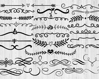 31 Text Dividers SVG | Text Ornaments | borders | printable | digital | vector | instant download | swirls | decoration