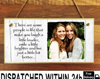"""Personalised Wooden Family Photo Plaque Sign 8x4"""" Wedding Mother's day Birthday Friend Gift"""