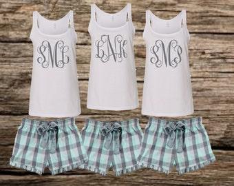 bridesmaid pajamas, monogrammed pajamas, bridal party pajamas, personalized pajamas, monogrammed tank, monogrammed shorts, monogrammed pjs