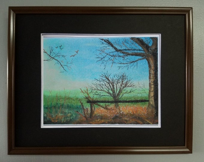 "8x10, Original Pastel Painting, Landscape Artwork, ""Sunlight on Winter Tree"""