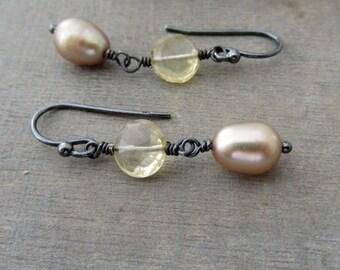 Birthstone Earrings, Oxidize Silver Earrings Dangle, Silver Citrine Earrings, Oxidize Pearl Earrings, June Birthstone, November Birthstone