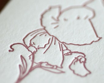 Sue Sits on a Flower - Sunbonnet Babies Letterpress Notecard