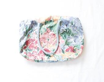 Mini Floral duffle bag with powder blue handles // micro duffel bag // xs tote // overnight trip bag // 1980s duffle // rose pink white