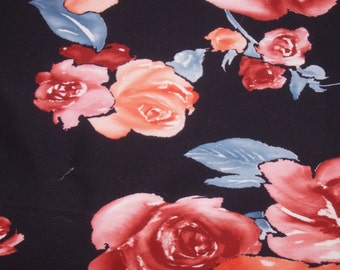 """Vintage Black Floral Knit Fabric, Four-Way Stretch, 60"""" Wide x 3+ Yards"""