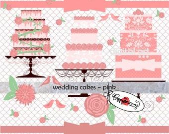 Wedding Cakes Pink: Digital Clipart (300 dpi) Wedding Bridal Shower Floral Pink Cake Bird  Flower Clip Art