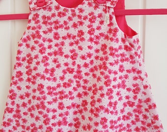 Pink Flower Girls Pinafore Dress Age 6 months