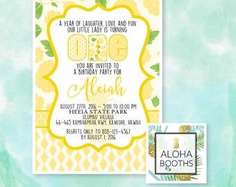 Yellow Pineapple Printable Birthday Invitation 5x7