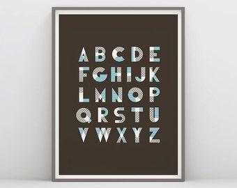 Alphabet Letter, Alphabet Art, Alphabet Poster, Alphabet Print, Nursery Wall Art, Printable A-Z, Kids Wall Art, ABC Print, Nursery Decor