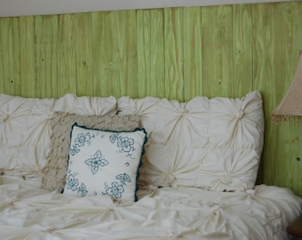 Lime Weathered Look - King Hanger Headboard with Vertical Boards. Mounts on wall. Adjust height to your convenience. Easy installation.