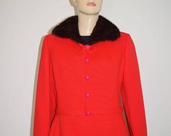 Vintage 50's 60's Mink Trimmed Red Wool Suit Coat Jacket Montaldo's by Stegari