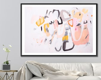 Large Print of GEOMETRIC art Large Wall Art  28X40, Giclee Print, Abstract Art, pink yellow Painting by Duealberi