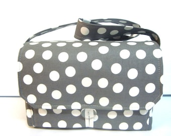 """Large 4"""" Size Coupon Organizer / Coupon Bag /Budget Holder Box Attaches to Your Shopping Cart Gray with White Dots - Select Your Size"""