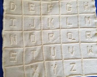Baby ABC crochet blanket already made
