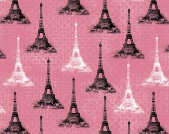 Paris Tower in Pink, Black White, Eiffel Tower, by David Textiles 100% Cotton - HALF YARD