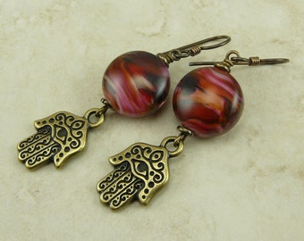 Vibrant Hamsa Hand Earrings with Artisan Lampwork Beads - Rose Pink Flower Floral - Brass Ox Niobium Ear Wires