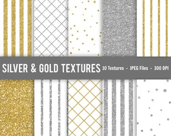 Silver and gold digital textures, Silver and gold glitter backgrounds, Silver and gold glitter textures, glitter textures, pattern textures