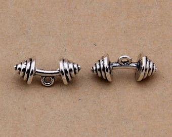 30pcs 22x8mm antique silver dumbbell charms barbell weight charm pendant