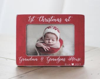 First Christmas at Grandma and Grandpas House Picture Frame Gift for Grandparents Grandma Grandpa Holiday GIFT