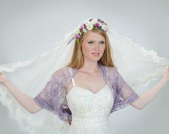 Wedding Lace Shrug, Dusty Purple Lace Shawl/ Shrug. 4 Wearing Options- Shawl, Shrug, Twist And Scarf.  Bridal Shrug Wrap, Mauve Lace Bolero