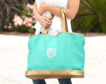 Mint Cabana Monogram Tote, Large Personalized Canvas Bag