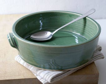 Shallow serving dish - wheel thrown stoneware bowl in forest green