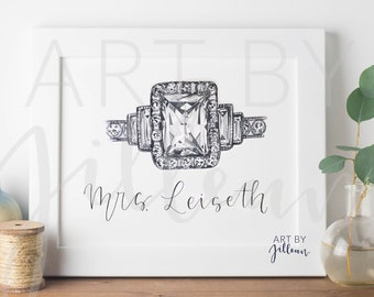 Personalized Watercolor Engagement Ring / Wedding ring watercolor / Ring drawing / Wedding gift / Engagement gift / Bridal gift