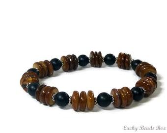 Beaded bracelet man bracelet horn bracelet black glass bead bead jewelry black bracelet brown bracelet mens gift stretch bracelet BB-07-0701