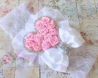 Baby girl christening/baptism headband Baby pink rosette heart,decorated with handmade satin rosette flowers ,satin bow ,lace and crystals.