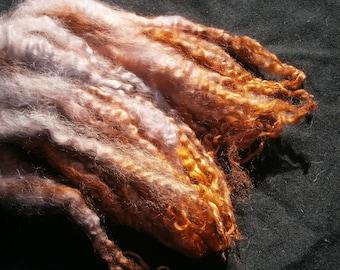 Masham dyed locks, curls, longwool, handspinning, felting, dolls hair