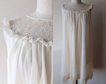 60's chiffon nightgown / beige nightie with ruffles and lace by Pandora size medium