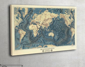 """Floor of The Oceans, wall map on canvas, living room wall decor, large art print up to 56"""" x 89"""" - 100"""
