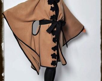 Beige Wool Cashmere Cape/Wool oversize beige coat/Extravagant Handmade Cape Cloak/Woman Winter Cape/Maxi Coat/Cashmere Wool Beige Coat/C1331