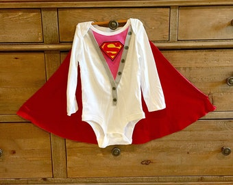Baby Girl Super Hero Superwoman Onsie Supergirl Bodysuit Superbaby  with Cape