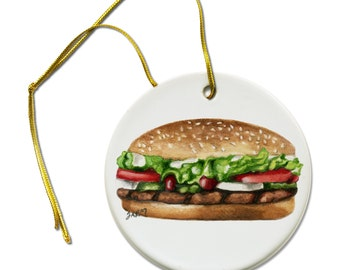 ACEO Art  Print of Whopper Hamburger on a Ceramic Hanging Ornament