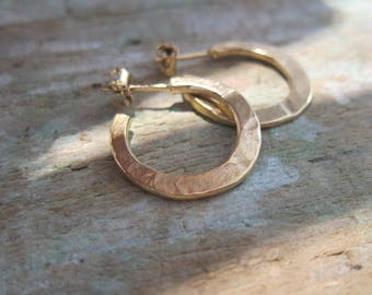 "Silver hoop earrings ""Douchka"" Vermeil, sterling silver, hand made in France."