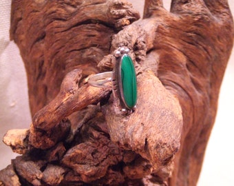 Native American Indian ring - Malachite in sterling silver  FREE SHIPPING SALE