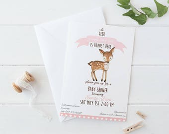 Deer Baby Shower Invitation, Woodland Baby Shower Invite, Baby Shower Invitation Deer, Forest Baby Shower Invite, Woodland Invitation