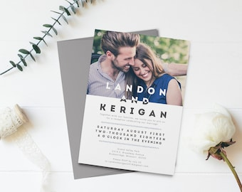 Wedding Reception Invitation - Two Become One - Marriage Announcement - DIY Printable - Photo Wedding Invitation - Reception Only Invitation
