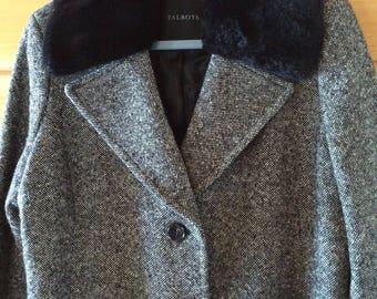 Ladies black tweed coat, fur collar, size 14