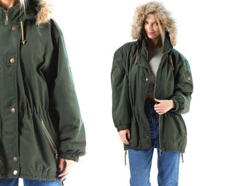 Parka Puffa Jacket 80s  Fox Fur Trimmed Hooded Green Windbreaker Anorak Jacket Drawstring Insulated Outerwear Coat Pockets Large SKU 5854