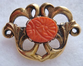Vintage Freirich Gold Tone Scrolly Pin Brooch With Stamped Orange Bead