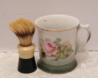 Antique German Shaving Mug and Brush, Vintage Brush USA Made and early 1900s Leuchtenburg Germany cup, collectible barber shop decor
