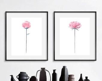 Peonies print, pink peonies wall art, peony watercolor painting, instant download peony, set of 2 peony, watercolor flowers wall art