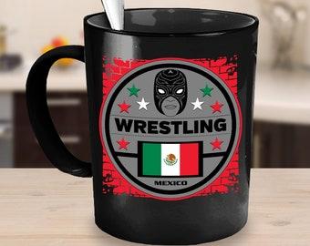 Wrestling Coffee Mug 15oz Black Ceramic Cup - Mexico, Masked Wrestling, Wrestling Mug, Gift for Wrestlers, Luchador, Lucha Libre Wrestling
