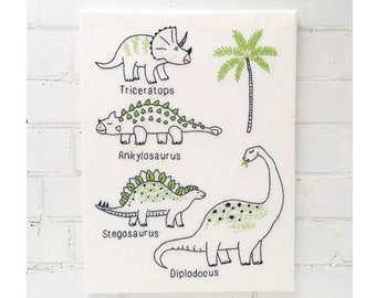 Freddie's Dinosaurs Easy Hand Embroidery Pattern pdf instant download