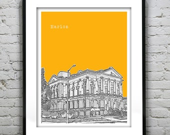 Marion Indiana Skyline Poster Art Print IN Version 1